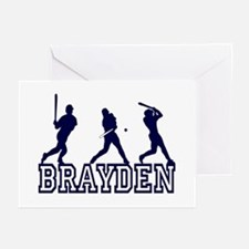 Baseball Brayden Personalized Greeting Cards (Pack