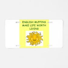 english muffins Aluminum License Plate