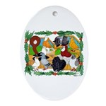 Christmas Pigeons Oval Ornament