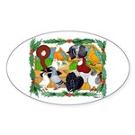 Christmas Pigeons Oval Sticker