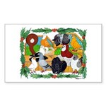 Christmas Pigeons Rectangle Sticker