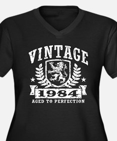 Vintage 1984 Women's Plus Size V-Neck Dark T-Shirt