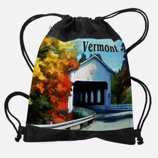 White Covered Bridge  Colorful Autu Drawstring Bag