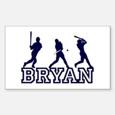 Baseball Bryan Personalized Rectangle Decal