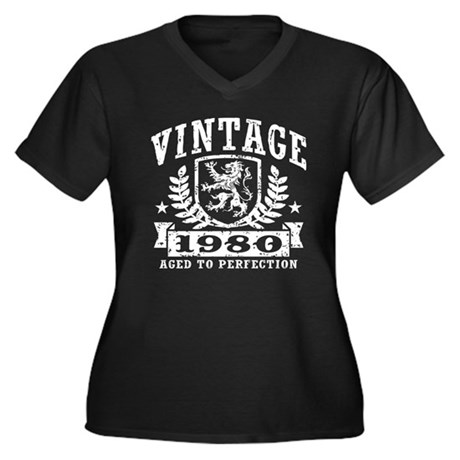 Vintage 1980 Women's Plus Size V-Neck Dark T-Shirt