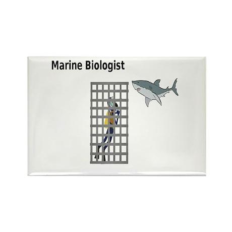 Marine Biologist Shark Cage Rectangle Magnet