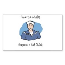 Save the Whales Harpoon a Fat Chick Decal