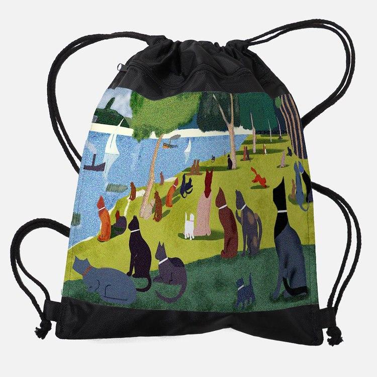 SEURATS CATS MOUSEPAD.png Drawstring Bag