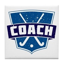 Field Hockey Coach (blue) Tile Coaster
