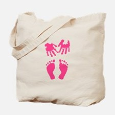 Baby girl love hand and footprint Tote Bag
