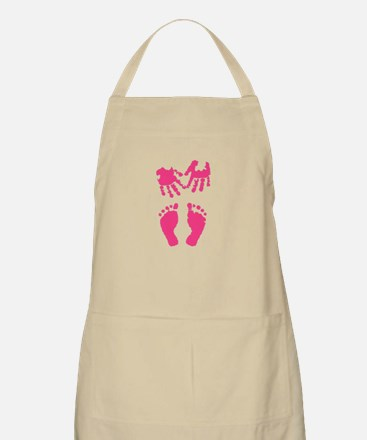Baby girl love hand and footprint Apron