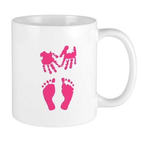 Baby girl love hand and footprint Mug