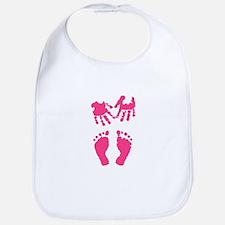 Baby girl love hand and footprint Bib