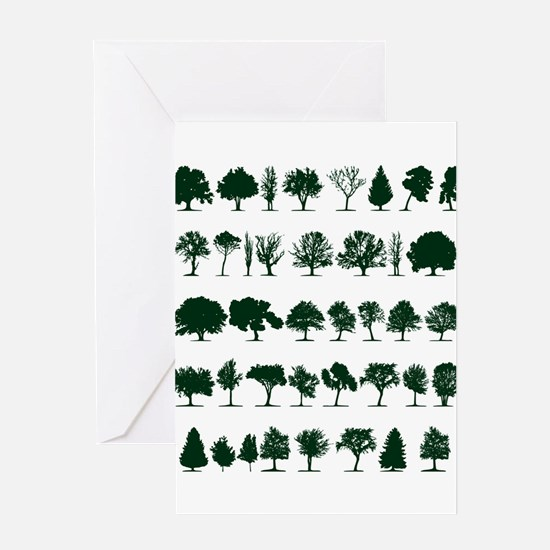 Tree Silhouettes Green 1 Greeting Card