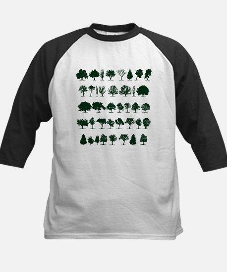 Tree Silhouettes Green 1 Baseball Jersey