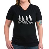 Run forest Womens V-Neck T-shirts (Dark)