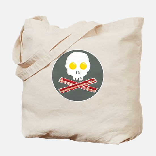 Bacon and Eggs Skull and Crossbones Tote Bag