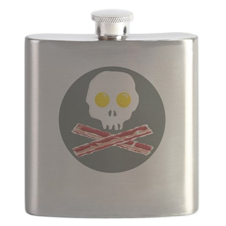 Bacon and Eggs Skull and Crossbones Flask