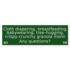 Cloth Diapering Breastfeeding Bumper Car Sticker