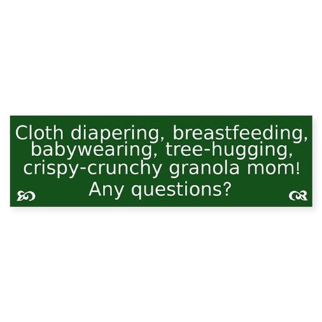 Cloth Diapering Breastfeeding Bumper Sticker