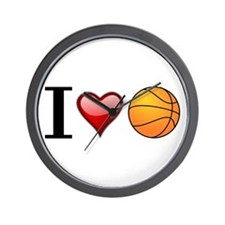 I heart basketball Wall Clock