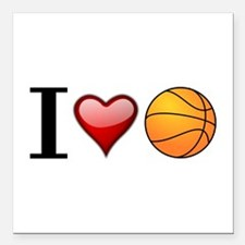 "I heart basketball Square Car Magnet 3"" x 3"""