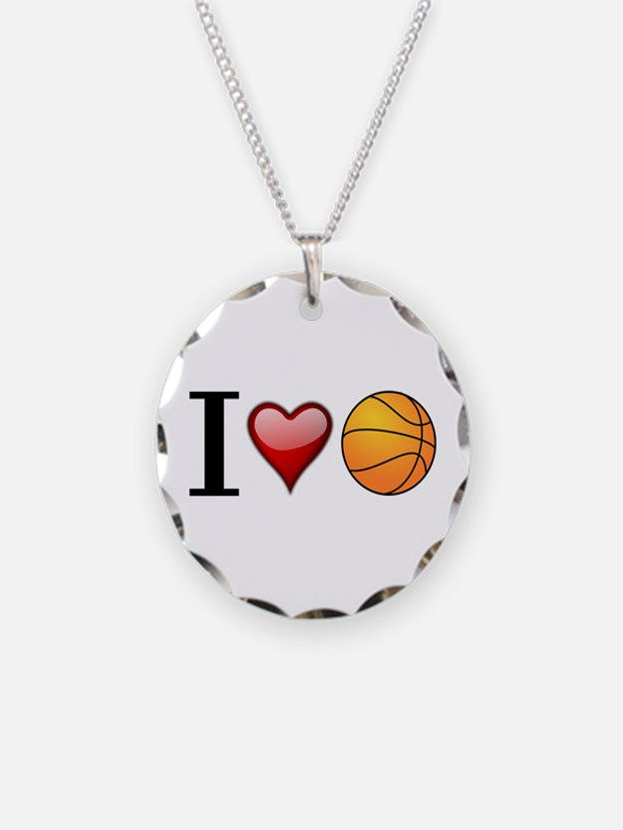 I heart basketball Necklace