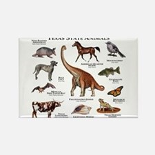 Texas State Animals Rectangle Magnet