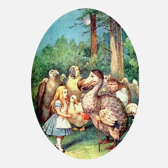 Alice and the Dodo Bird Ornament (Oval)