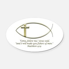 Matthew 4:19 Oval Car Magnet