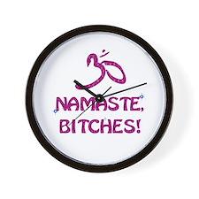 Namaste Bitches - Purple Glitter Effect Wall Clock