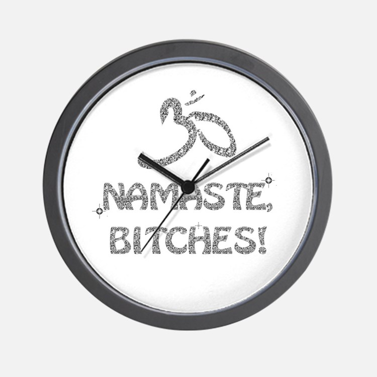 Sparkly Namaste Bitches Wall Clock