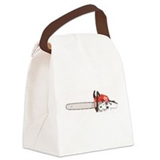 Chainsaw - Orange with Green Tree Canvas Lunch Bag
