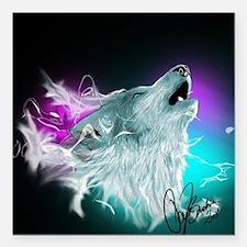 "Northern Lights Wolf Spirit Square Car Magnet 3"" x"