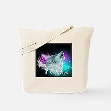 Northern Lights Wolf Spirit Tote Bag