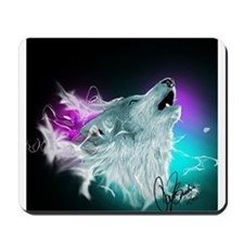 Northern Lights Wolf Spirit Mousepad