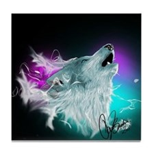 Northern Lights Wolf Spirit Tile Coaster