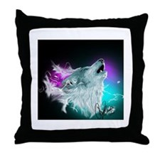 Northern Lights Wolf Spirit Throw Pillow