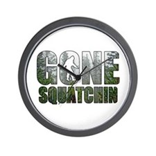 Gone Squatchin deep woods Wall Clock