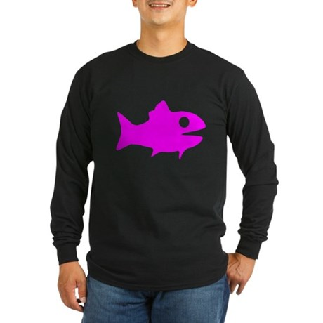 Pink Fish Outline Long Sleeve T-Shirt