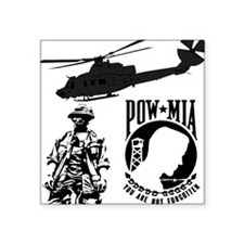 POW-MIA Black Rectangle Sticker