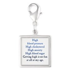 Old Age High Silver Square Charm