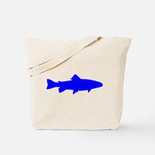 Blue Trout Outline Tote Bag