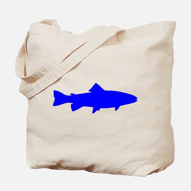 Blue Trout Outline Tote Bag