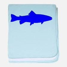 Blue Trout Outline baby blanket