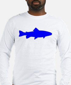 Blue Trout Outline Long Sleeve T-Shirt