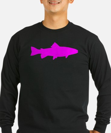 Pink Trout Outline Long Sleeve T-Shirt