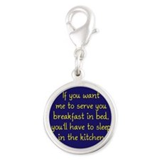 Breakfast in Bed Silver Round Charm