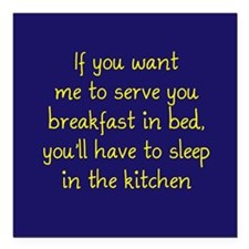 """Breakfast in Bed Square Car Magnet 3"""" x 3"""""""