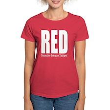 RED white women's T-Shirt